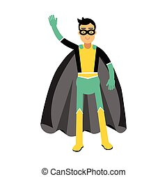Young masked man in a superhero costume waving his hand vector Illustration