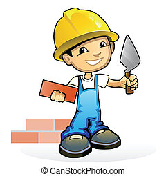 Young mason with trowel - Vector illustration of a young ...