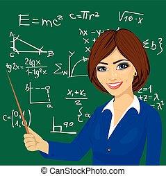 young math teacher standing next to blackboard - young math...