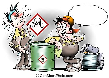 Young mechanic learns about safety signs