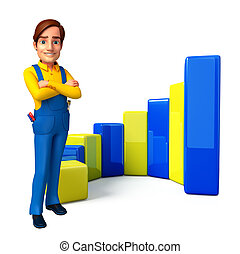 Young Mechanic with business graph - Illustration of young ...