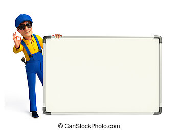 Young Mechanic with display board - Illustration of young...