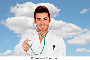 Young medical doctor with a stethoscope