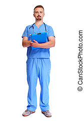 Young medical doctor with clipboard.