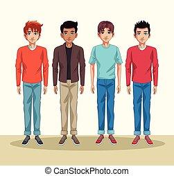 Young men cartoon