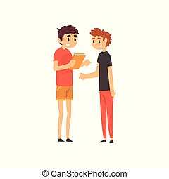Young men discussing the book, people choosing books in bookstore vector Illustration on a white background