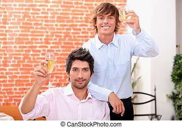 Young men in a wine bar