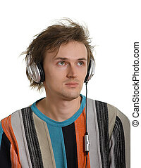 young men in earphones