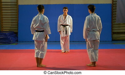 Young men performing self defense karate sequence...