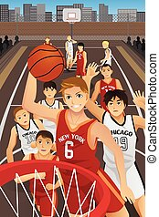 A vector illustration of young men playing basketball in the inner city