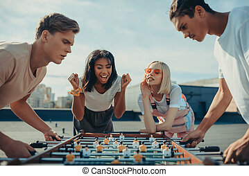 men playing table football