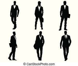Young men silhouettes - Vector illustration of young men...
