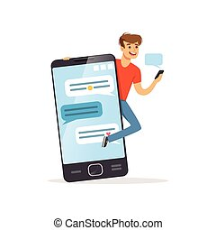 Young men standing near giant smartphone, phone addiction, addicted to social networking, bad habit vector Illustration