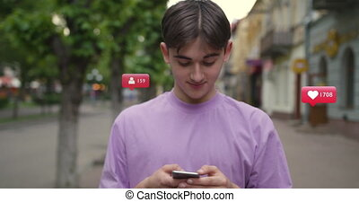 Young men use phone feel happy vlogger influencer animation with user interface - likes, followers, comments for social media from smartphone slow motion
