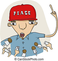 vector illustration of some funny guy speaking to press on a peace subject
