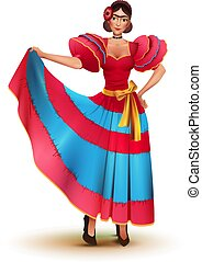 Young Mexican woman in red dress solo dancing