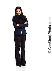 young middle eastern businesswoman full length isolated on ...