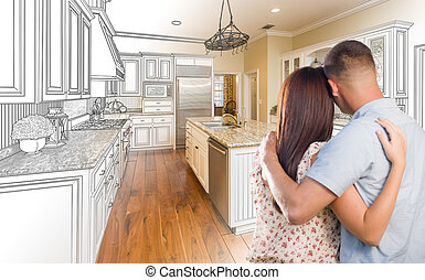 Young Military Couple Inside Custom Kitchen and Design Drawing Combination