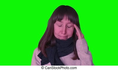 Young millennial girl caught cold on green screen - Young...