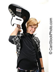 Young misician with electric bass