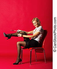 mistress straightens stockings
