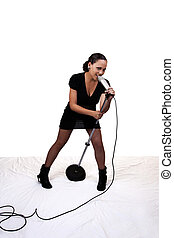 Young Mixed Black Woman Singing Microphone Stand