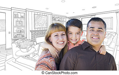 Young Mixed Race Family Over Living Room Drawing On White