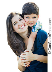 Young Mixed Race Mother and Son Hug Isolated on a White Background.