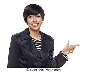 Young Mixed Race Woman Pointing to Side on White
