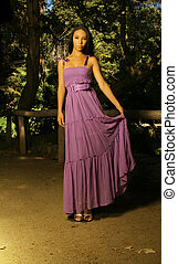 Young model in Purple dress