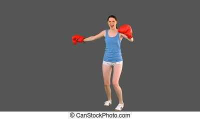 Young model in sportswear and boxing