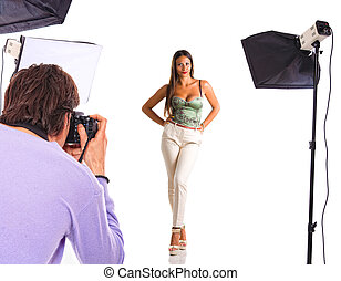Young model poses for young photographer
