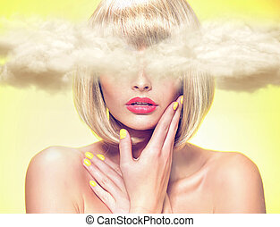 Young model with head in the clouds