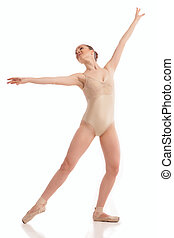 young modern ballet dancer isolated on white background