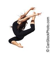 dance - young modern ballet dancer posing on white...