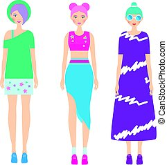 415457aac4 Young modern girls with colorful hairstyle. Fashionable Woman dresscode.  Smiling Females in trendy casual