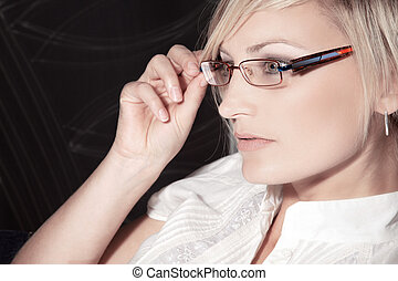 young modern woman with glasses