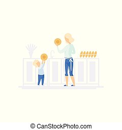 Young mom and her little son washing dishes in the kitchen, family lifestyle concept vector Illustration on a white background