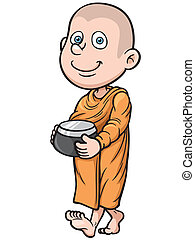 Young monk - Vector illustration of Cute young monk cartoon