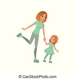 Young mother and her little daughter skating on rollers. Family sport. Active lifestyle. Mom and child having fun together. Motherhood concept. Flat vector design