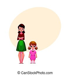 Young mother and little daughter standing with frowned, angry faces