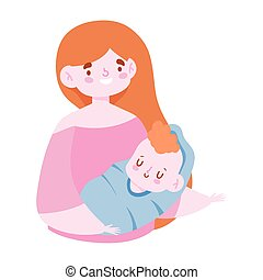 young mother carrying a her baby son cartoon, family day