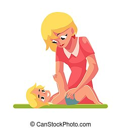 Young mother changing her baby's diaper, nappy, cartoon vector illustration