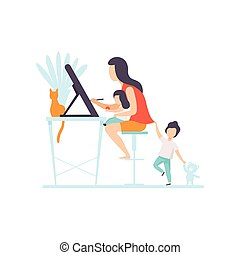 Young Mother Drawing Sketch on Tablet Screen, Woman Working at Home, Freelancer, Parent Working with Her Two Little Children, Mommy Businesswoman Vector Illustration