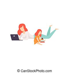 Young Mother Lying on Floor and Working on Laptop Computer, Her Daughter Playing Next to Her, Freelancer, Parent Working with Child, Mommy Businesswoman Vector Illustration
