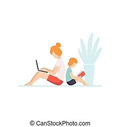 Young Mother Lying on Floor and Working on Laptop Computer, Her Son Sitting Next to Her and Reading, Mother and Son Seated Back to Back, Freelancer, Parent Working with Child Vector Illustration
