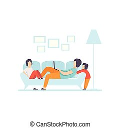 Young Mother Lying on Sofa and Working on Laptop Computer, Her Sons Playing Next to Her, Freelancer, Parent Working with Child, Mommy Businesswoman Vector Illustration