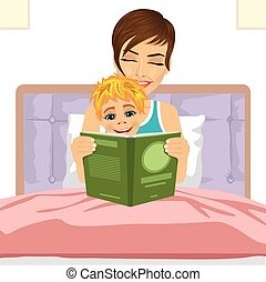young mother reading tale story to her son together sitting on bed