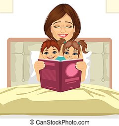 young mother reading tale story to her children sitting together on bed