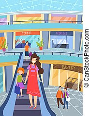 Young mother shopping with her little daughter holding hands as they descend on an indoor escalator